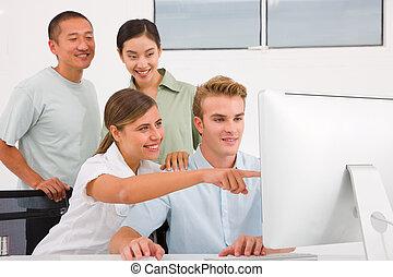 réussi, réunion, businesspeople, fonctionnement, togetherness