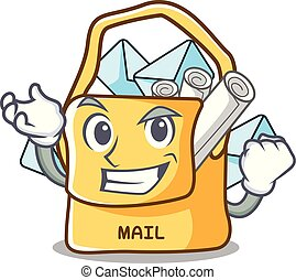 réussi, sac, forme, dessin animé, courrier