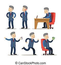 réussi, set., argent., illustration, vecteur, homme affaires, dessin animé, homme