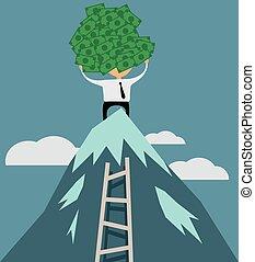 réussi, sommet montagne, homme affaires, argent