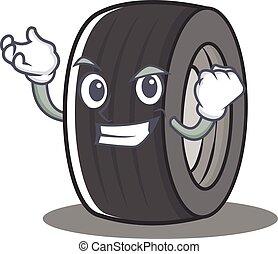 réussi, style, caractère, dessin animé, pneu
