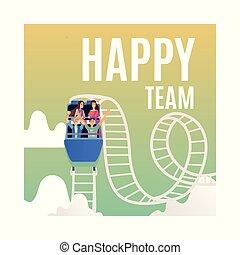 réussi, teambuilding, vecteur, caboteur, rouleau
