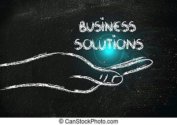 réussi, ton, solutions, mains affaires