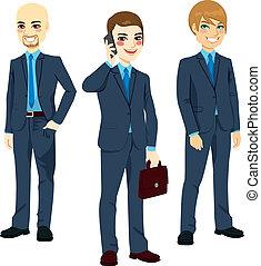 réussi, trois, hommes affaires