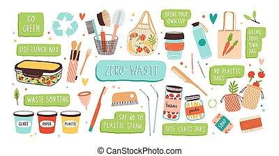 réutilisable, collection, sacs, articles, verre, -, pots, ...