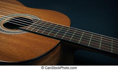 révélé, guitare, velours, sous, feuille