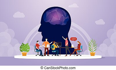 révélateur, plat, équipe, cyber, vecteur, développement, style, -, oriented, moderne, esprit