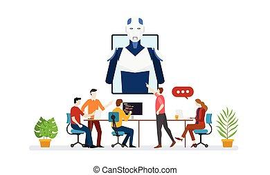 révélateur, plat, ai, artificiel, robot, équipe, discussion, vecteur, programmeur, scénario, style, intelligence, -, technologie moderne
