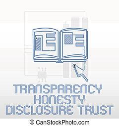 révélation, concept, honnêteté, texte, politique, trust., écriture, volonté, signification, transparence, écriture, ordre du jour, constitué
