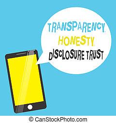 révélation, concept, mot, honnêteté, business, texte, politique, écriture, volonté, trust., transparence, ordre du jour, constitué