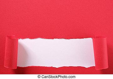 révéler, déchiré, bord, papier, fond, bande, blanc rouge, frisé