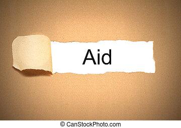 révéler, espace, déchiré, paquet, papier, aide, blanc, carton