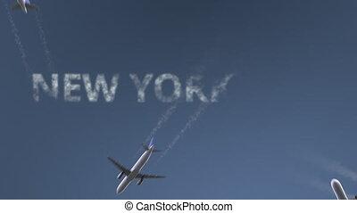révéler, uni, caption., ville, voler, avions, etats, intro, york, conceptuel, nouveau, animation, voyager