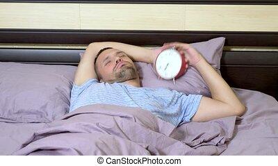 réveille, horloge, reveil, haut, fâché, type, a, rung.
