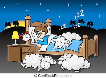 réveille, horloge, reveil, sans sommeil, haut, matin, homme