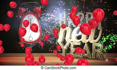 réveille-matin, heureux, confetti, ballons, année, nouveau