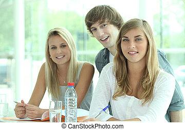 réviser, camarades classe, trois, ensemble