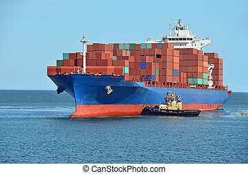 révkalauzhajó, elősegít, konténer, teherhajó