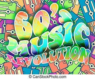 révolution, 60s, vendange, concept., musique, retro, affiche