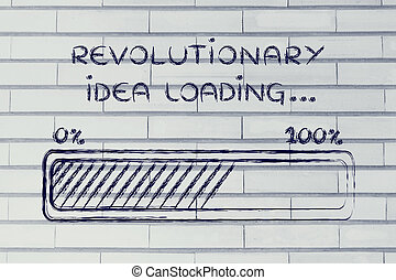 révolutionnaire, barre, chargement, idée,  Illustration, Progrès