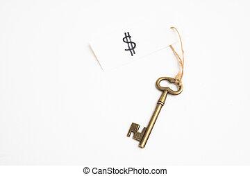 rézfúvósok, szüret, címke, fehér, öreg, kulcs, dollar cégtábla, háttér