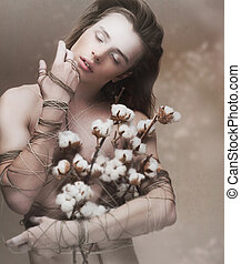 rêvasser, jeune homme, tas, heritage., fleurs, beau
