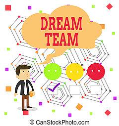 rêve, écriture, signification, team., démontrer, liste contrôle, ou, vert, tick., satisfaction, questionnaire, prefered, blanc dehors, faire, enquête, unité, mâle, groupe, mieux, choix, concept, texte