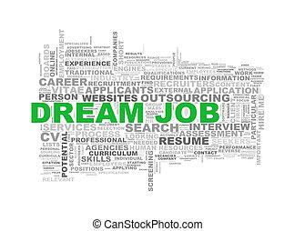 rêve, métier, mot, wordcloud, étiquettes