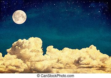 rêve, nuages, lune