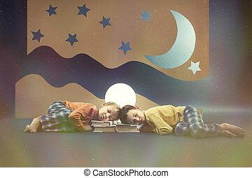 rêver, enfants, nuit