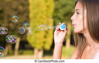 rêveur, bulle, girl.