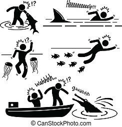 río, animal mar, humano, atacar