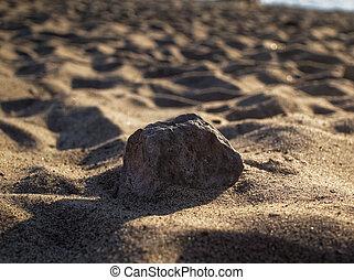 río, arena, en, el, orilla, en, verano