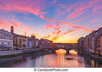 río arno, y, ponte vecchio, en, florencia, italia