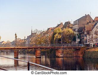 río, centro, pintoresco, francia, casas, histórico, rur, por, strasburg