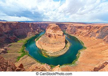 río, curva, arizona., colorado, herradura