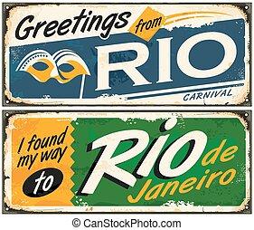 río de janeiro, saludos, de, brasil, retro, estaño, señales,...