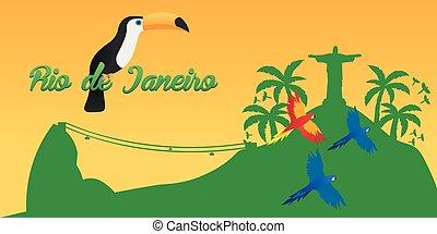 río, de, jeaneiro, poster., viaje, en, brasil., sur, america., estatua, de, cristo, el, redeemer., toucan., tres, parrots.