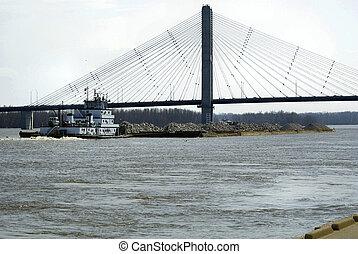 río de mississippi, barcaza