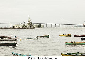 río, de, río, infront, barcos, castillo, janero