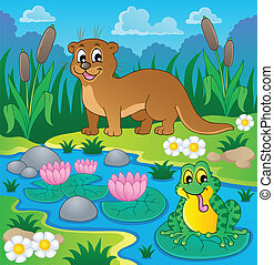 río, fauna, tema, imagen, 1