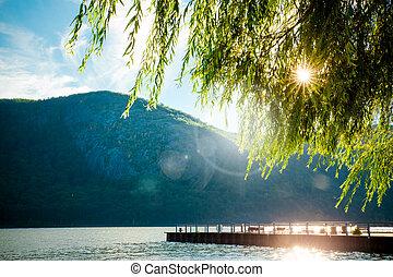 río, montañas, árboles