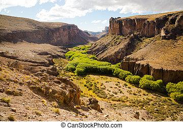 río, pinturas, cañón