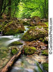 río, profundo, en, montaña