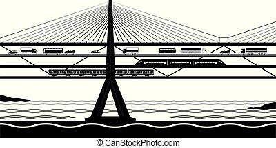 río, puente, multifunctional, transporte, cruz