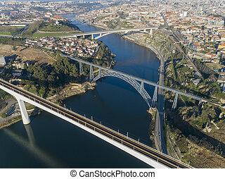 río, puentes, porto, aéreo, douro