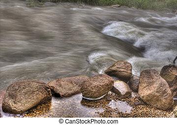 río, rapids, hdr, rocoso