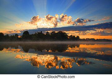 río, reflexión, salida del sol