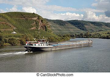 río, rin, barcaza
