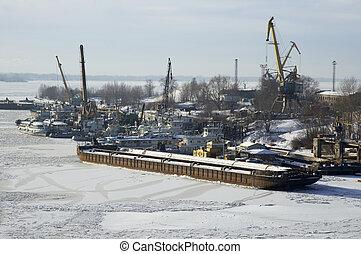 río ruso, invierno, volga, tiempo